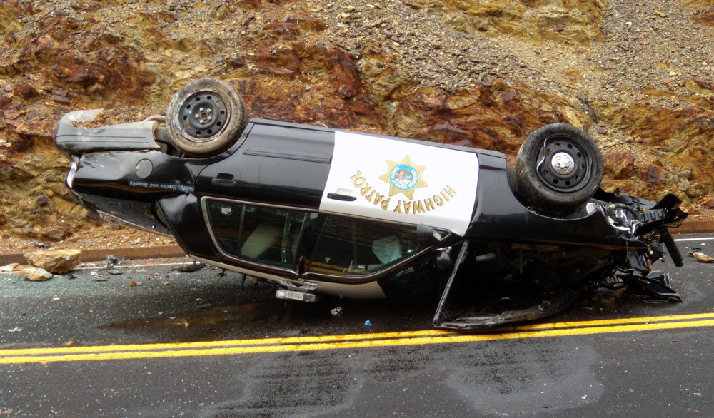 Chp officer rolls patrol car during high speed chase in mariposa county - Chp call log paint ...