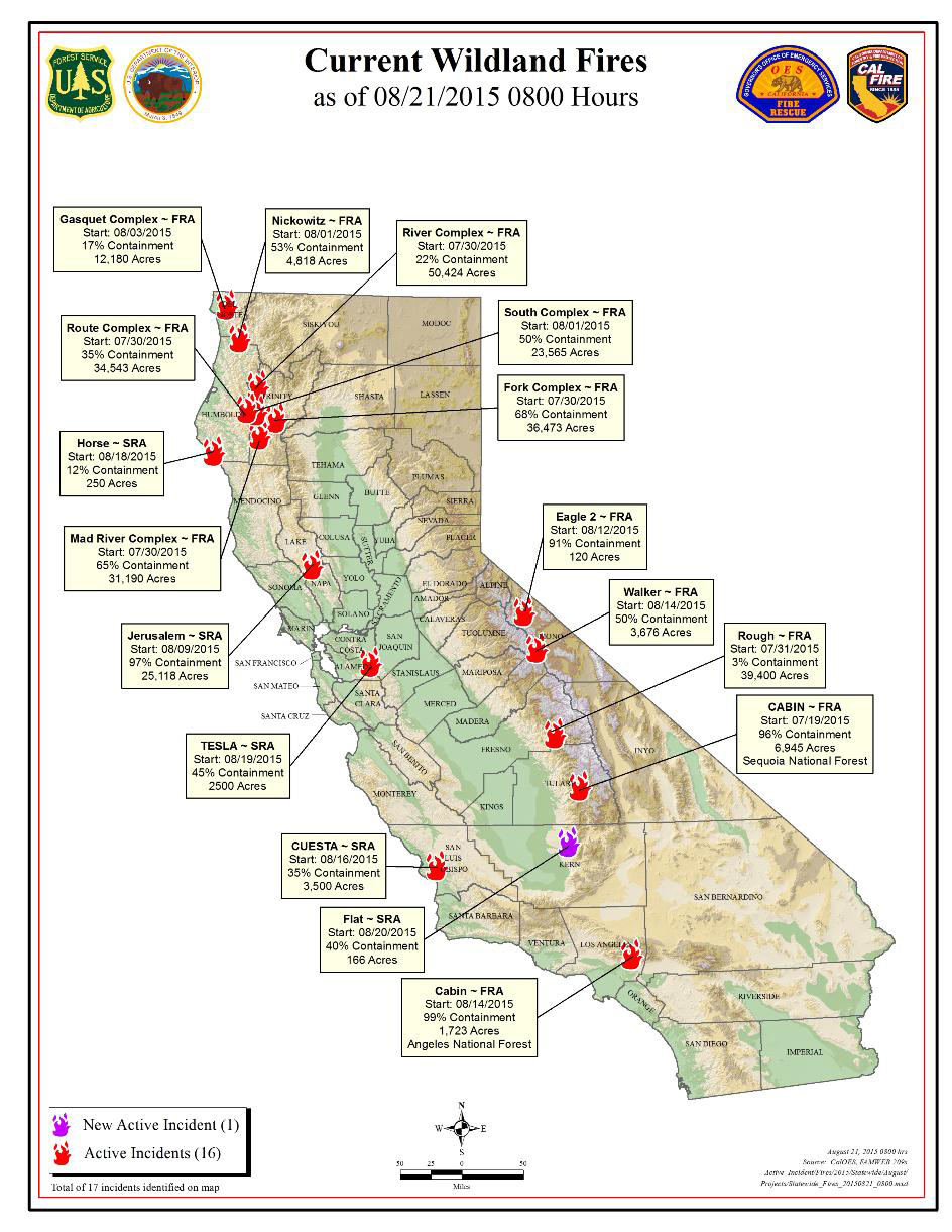 CAL FIRE Friday Morning August Report On Wildfires In - Us wildfire map 2017
