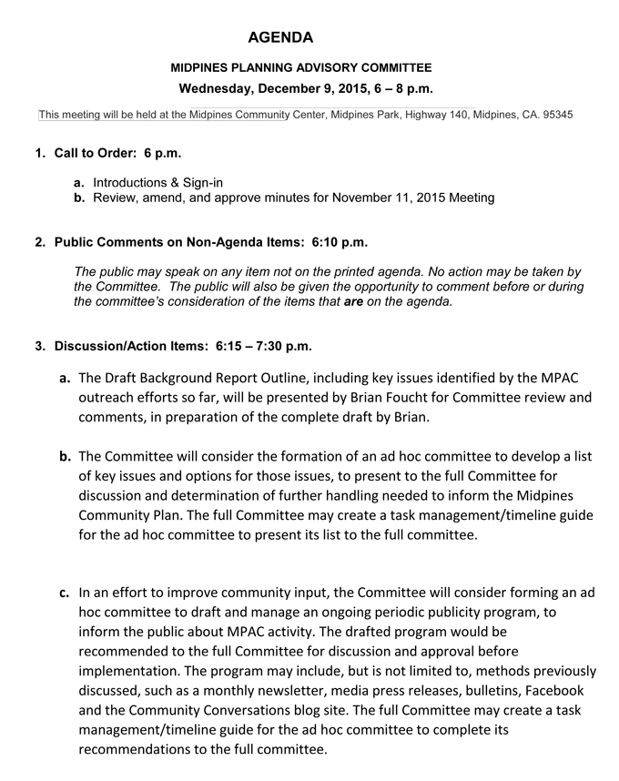 Midpines Planning Advisory Committee Meeting Agenda for Wednesday – Preparing Meeting Agenda
