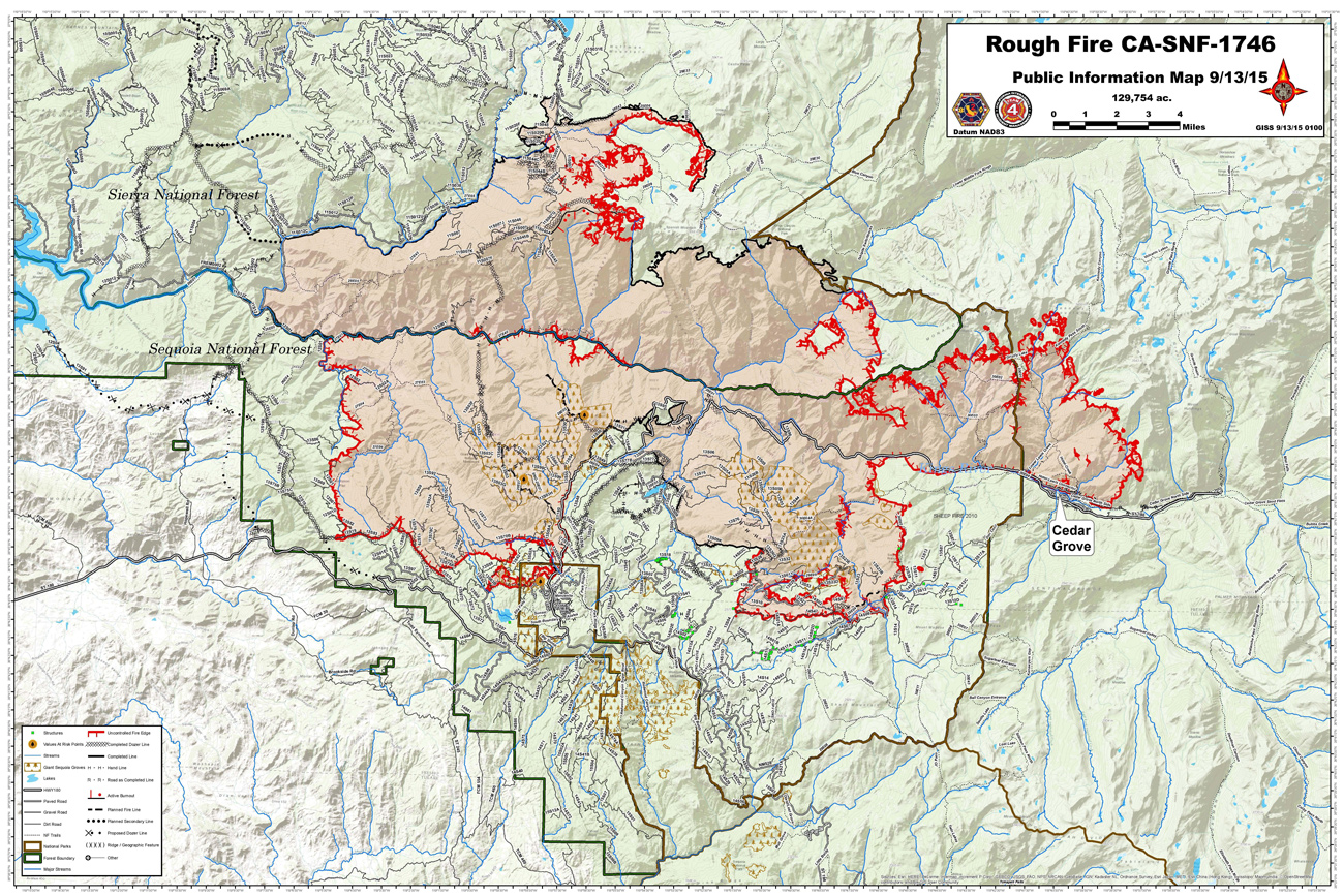 Sierra National Forest Rough Fire Maps For Sunday