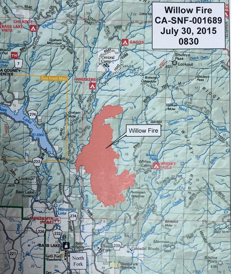 willow fire map july 30 2015 madera county