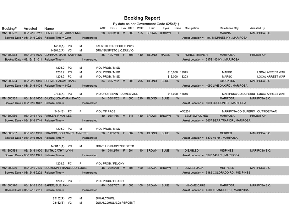 Daily booking report