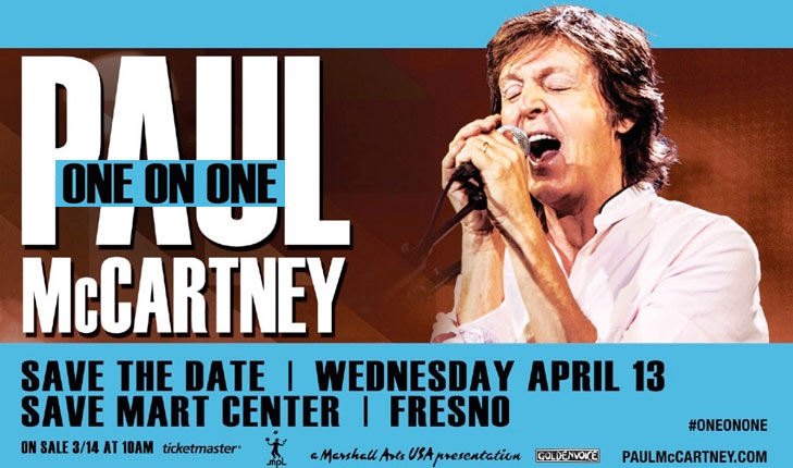Surprise Announcement Paul McCartney To Play Save Mart Center At Fresno State In April 2016