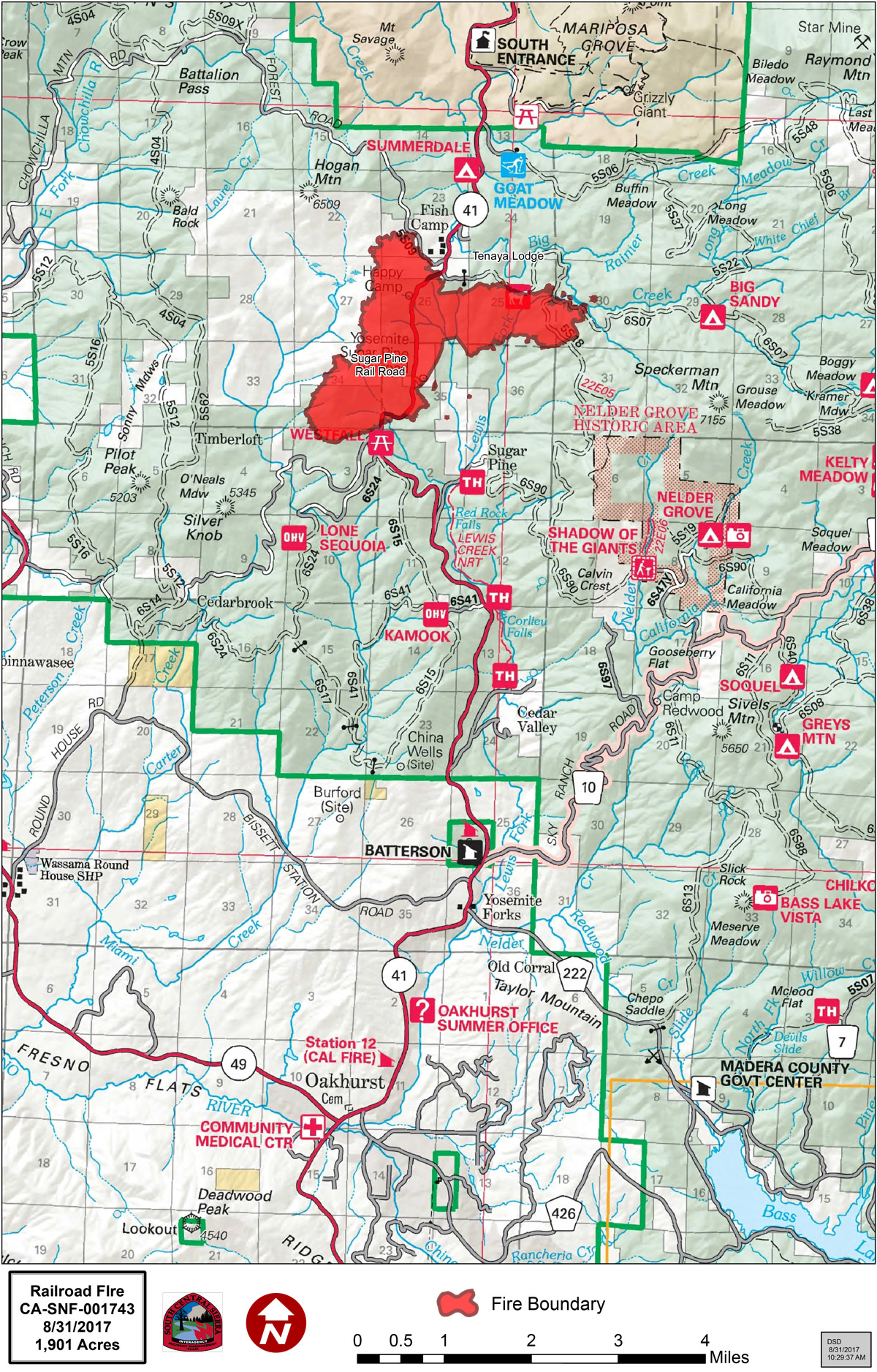 railroad fire map august  . railroad fire in madera and mariposa counties perimeter map for