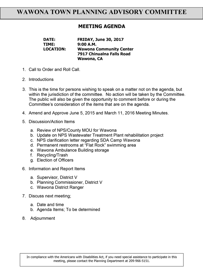2017 06 30 mariposa county wawona town planning advisory committee agenda june 30 2017