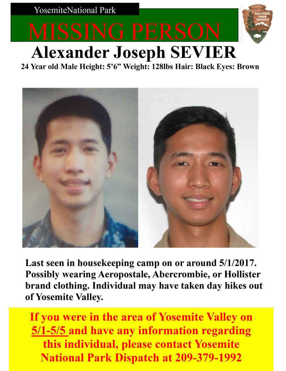 yosemite national park missing person sevier alexander