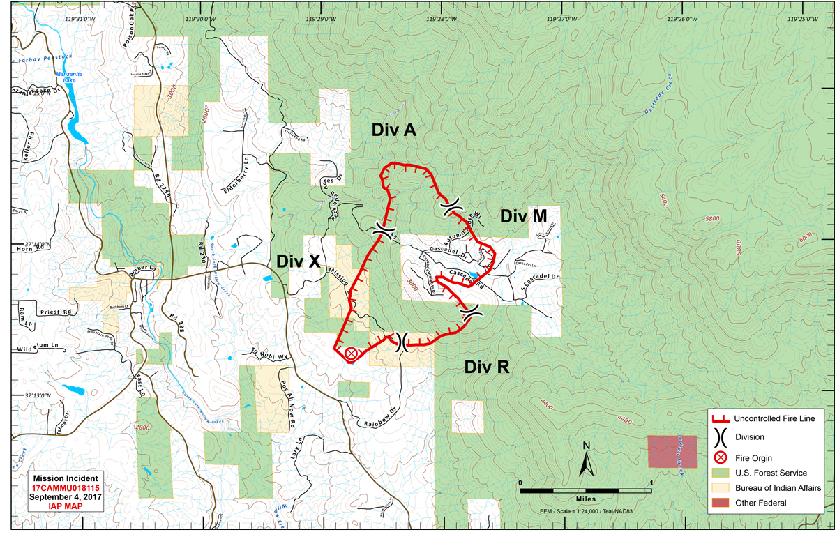 mission fire in eastern madera county perimeter map for monday september