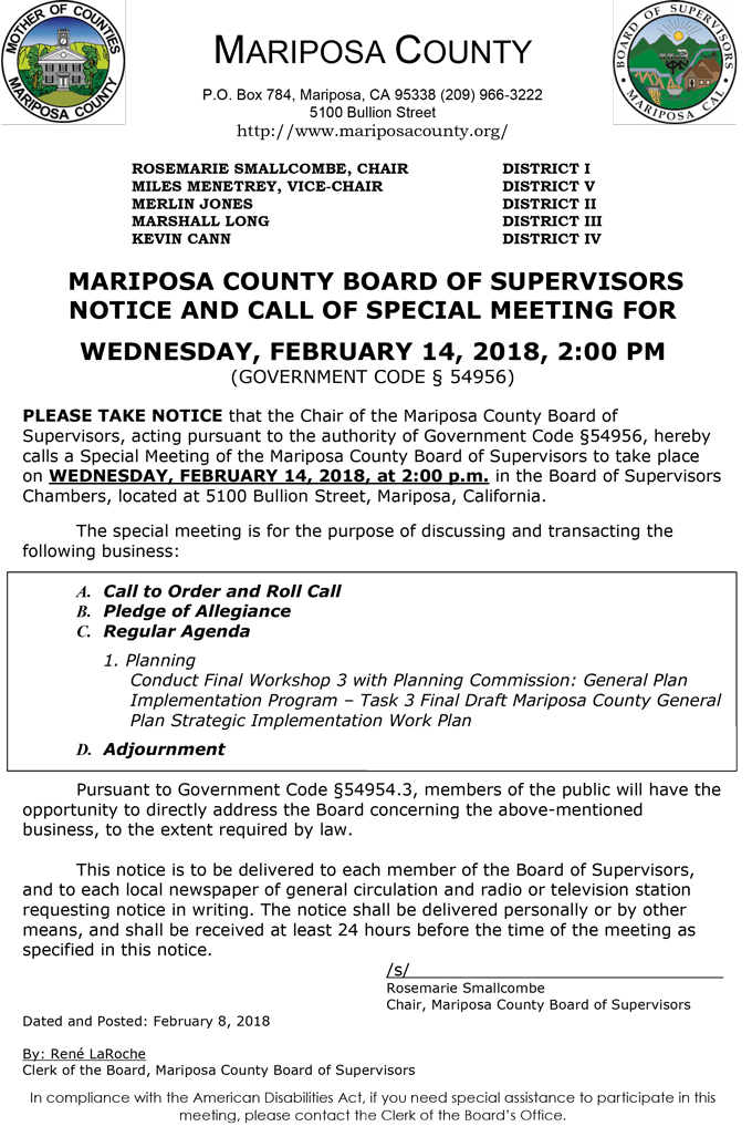 2018 02 14 mariposa county Board of Supervisors agenda february 14 2018