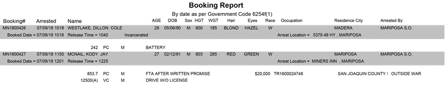 mariposa county booking report for july 9 2018
