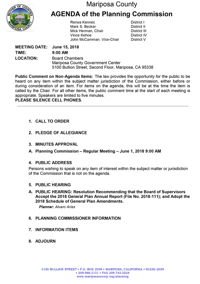 2018 06 15 mariposa county Planning Commission Public Agenda june 15 2018 1