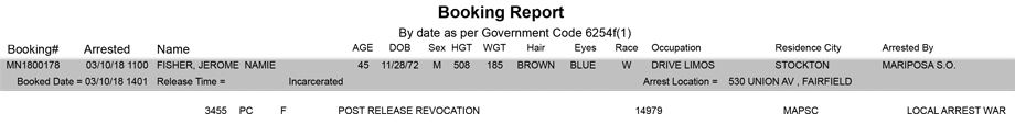 mariposa county booking report for march 10 2018
