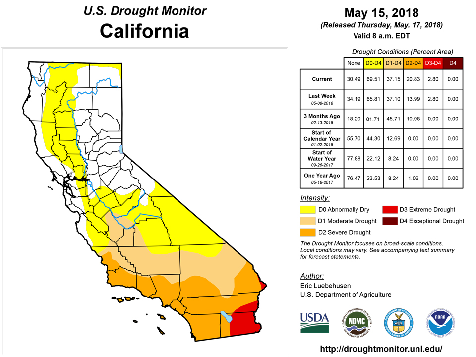 california drought monitor for may 15 2018