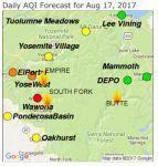 Yosemite and Foothills Smoke Outlook for Thursday, August 17, 2017
