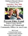 Oakhurst Library to Offer Elder Fraud Class with the Madera County Sheriff's Office on May 30, 2015