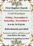 First Baptist Church of Mariposa to Host Mountain Top Christmas Craft Boutique on November 6-7, 2015