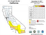 California and National Drought Summary for November 21, 2017 and 10 Day Weather Outlook