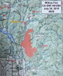 Willow Fire Perimeter Map with Cascadel Woods in Madera County for Thursday, July 30, 2015