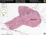 Wawona Area Evacuation Map for the South Fork Fire in Yosemite National Park