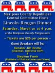 Join the Mariposa County Republican Central Committee at the Annual Lincoln-Reagan Dinner on March 21, 2015