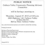 Catheys Valley Community Planning Advisory Committee Meeting Thursday, August 27, 2015