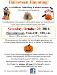 California State Mining and Mineral Museum Gets in the Halloween Spirit on Saturday, October 29, 2016
