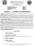 Mariposa County Board of Supervisors Special Meeting Agenda for Monday Evening, August 22, 2016