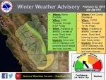 National Weather Service Issues Winter Weather Advisory for Mariposa, Madera, and Fresno County Foothills Beginning 6:00 P.M. Thursday Evening, February 22, 2018