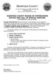 Mariposa County Board of Supervisors Special Meeting Agenda for Friday, June 22, 2018 – Public Work Session with Yosemite/Mariposa County Tourism Bureau