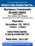 'Give the Gift of Life' at Mariposa Community Blood Drive on December 10, 2015