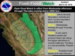 Flash Flood Watch for Mariposa, Madera, and Fresno County Foothills Beginning at Noon on Wednesday