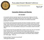 Tuolumne County Sheriff's Office Issues Evacuation Advisory and Warning for the Detwiler Fire