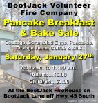 Bootjack Volunteer Fire Company to Host Pancake Breakfast & Bake Sale on Saturday, January 27, 2018