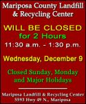 Mariposa County Landfill Announces Two Hour Closure on Wednesday, December 9, 2015