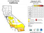 California and National Drought Summary for February 21, 2017 - Mariposa County at Lowest Intensity Level