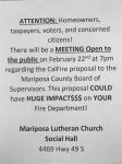 Public Meeting Concerning CAL FIRE Proposal to the Mariposa County Supervisors on February 22 – Discussion on Possible Financial Impacts to Your Local Fire Department