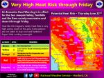 Updated for Thursday: National Weather Service Says Very High Heat Risk Through Friday, June 23, 2017