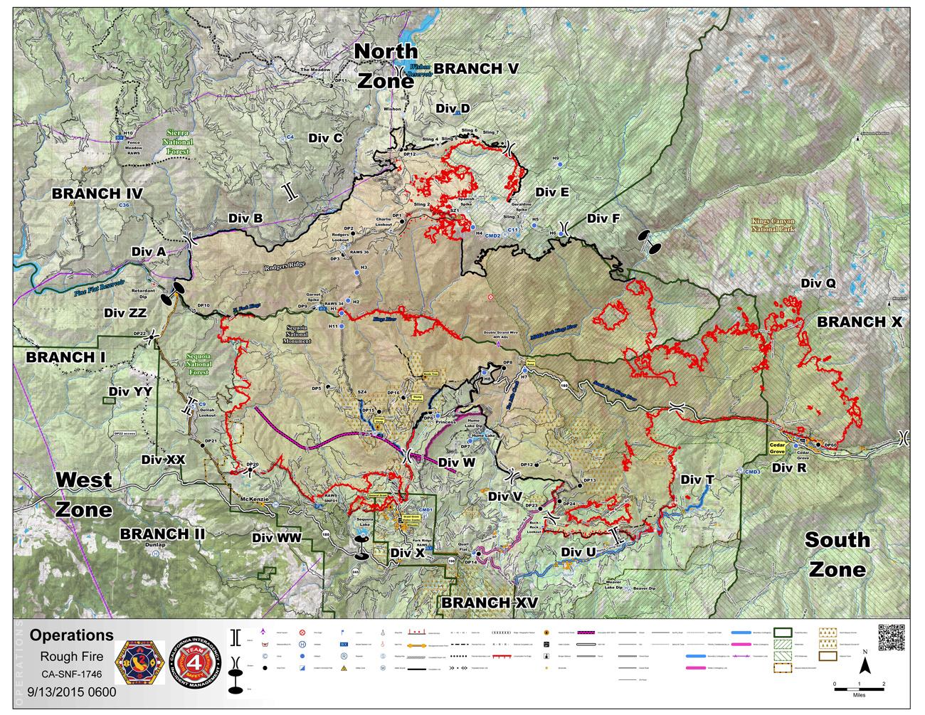 Sierra National Forest Rough Fire Maps for Sunday, September 13, 2015