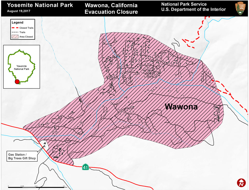 Wawona Area Evacuation Map for the South Fork Fire in Yosemite ...