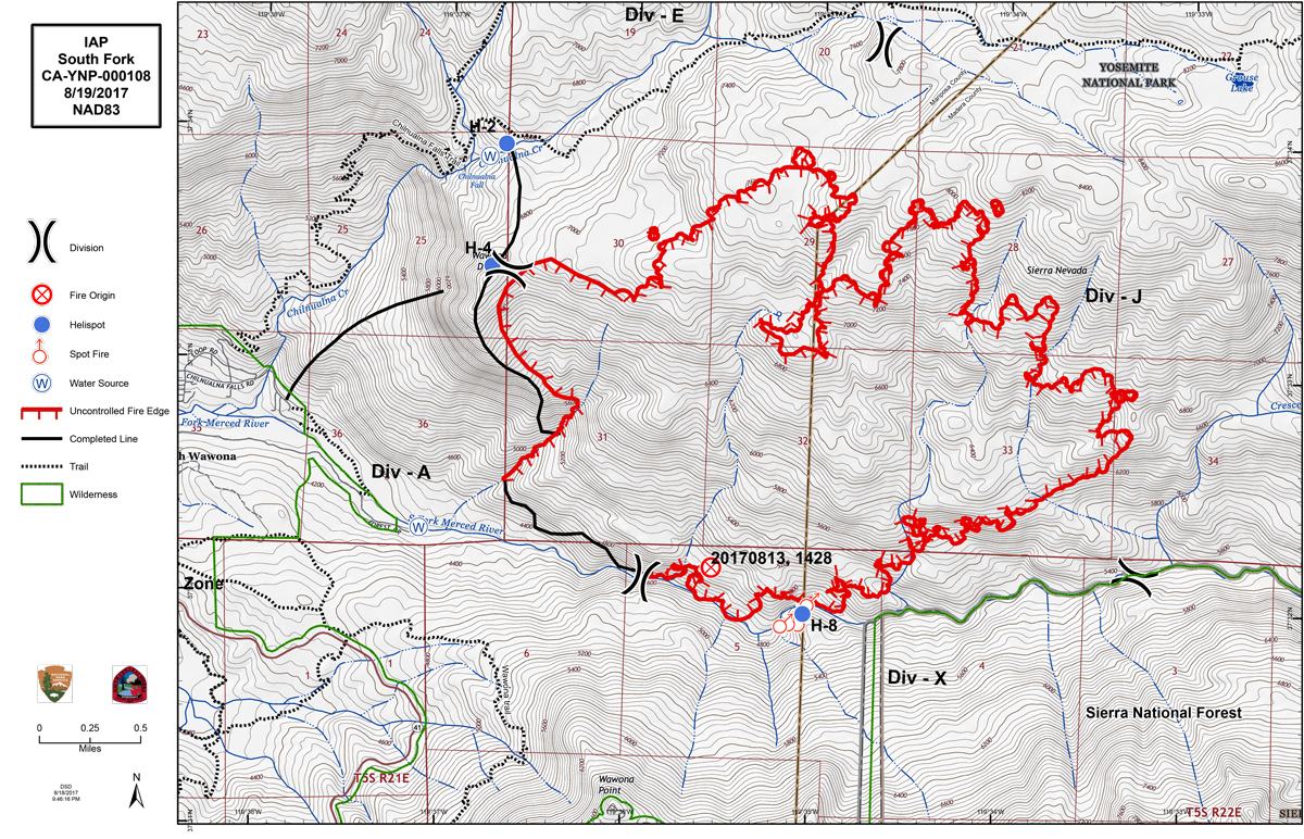 Updates on South Fork Fire in Yosemite National Park for Saturday
