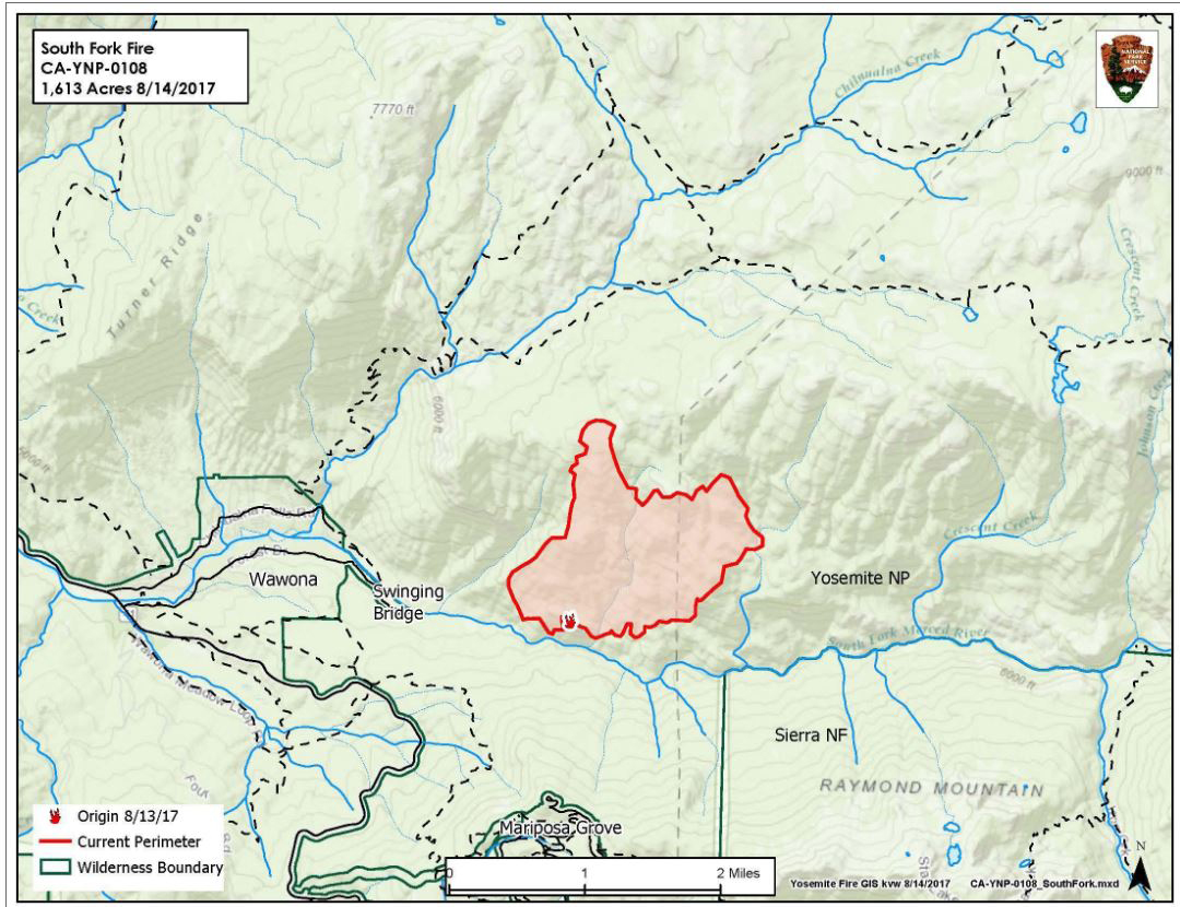 Updates on South Fork Fire in Yosemite National Park for Tuesday