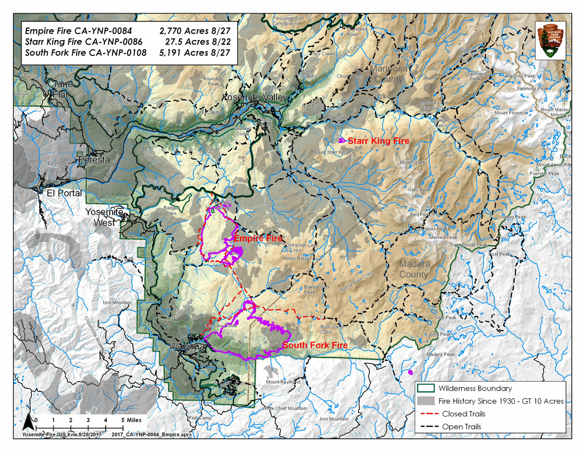 Fire Map Yosemite.Updates On South Fork Fire In Yosemite National Park For Monday