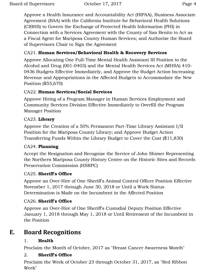Mariposa County Board Of Supervisors Meeting Agenda For Tuesday