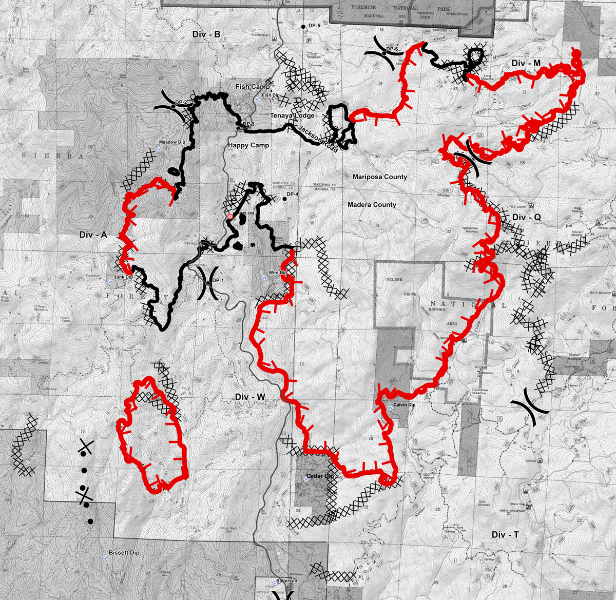 Railroad Fire In Madera And Mariposa Counties Perimeter Map For