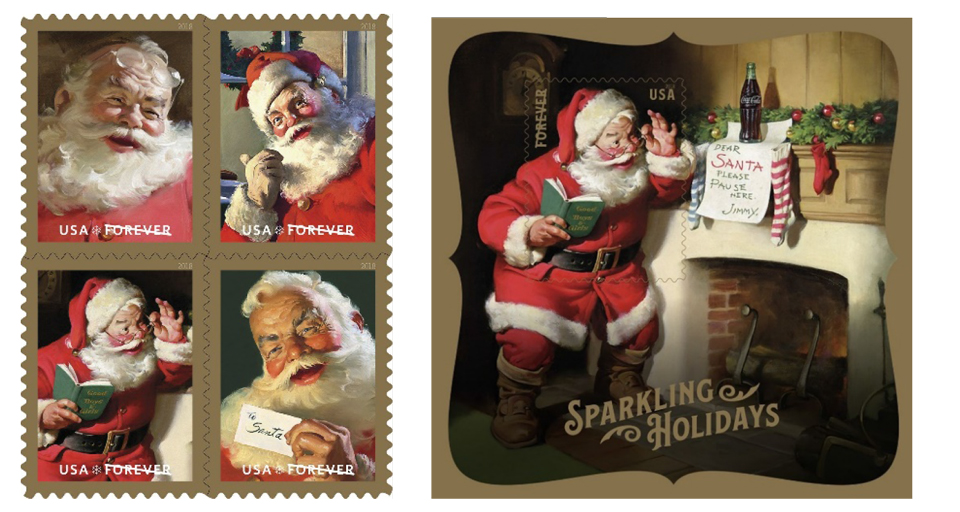 usps holiday coca cola forever stamps