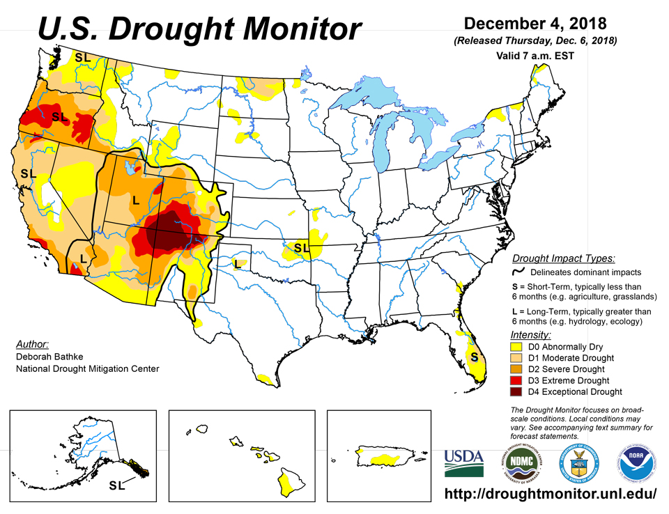 California and National Drought Summary for December 4, 2018, 10 Day on
