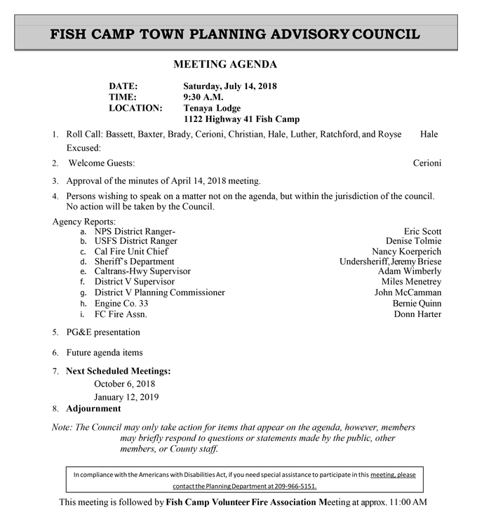 2018 07 14 Fish Camp Town Planning Advisory Council Public Agenda july 14 2018