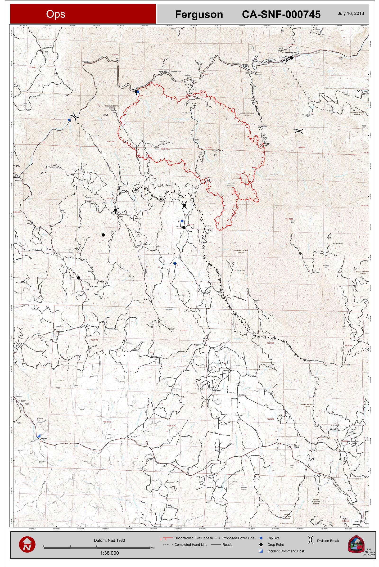 Ferguson Fire California Map.Ferguson Fire Near Yosemite National Park In Mariposa County Monday