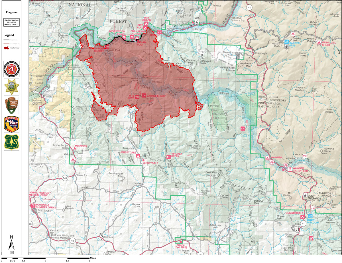 Thursday Perimeter Map of Ferguson Fire Near Yosemite National Park on capitol reef np map, canyonlands np map, sequoia nf map, olympic np map, denali np map, big bend np map, banff np map, park to park road map, sonoma valley map, badlands np map, haleakala np map, great basin np map, great sand dunes np map, katmai np map, kings canyon trail map, marin county map, sequoia np map, arches np map, everglades np map, rocky mountain np map,