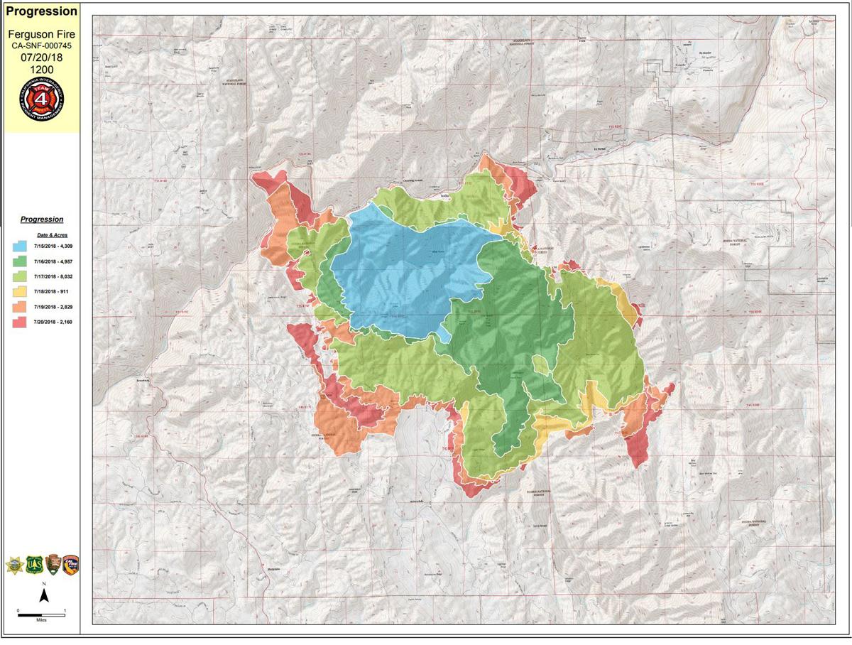 Ferguson Fire California Map.Progression Map Of The Ferguson Fire Near Yosemite National Park In