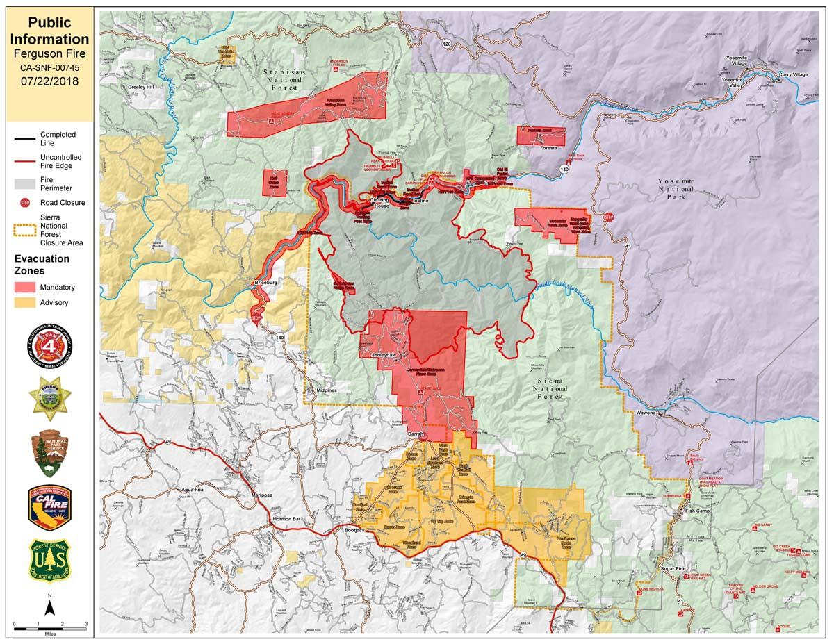 Fire Map California July 2018.Ferguson Fire Near Yosemite National Park In Mariposa County Sunday